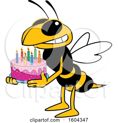 Clipart of a Hornet or Yellow Jacket School Mascot Character Holding a Birthday Cake - Royalty Free Vector Illustration by Toons4Biz
