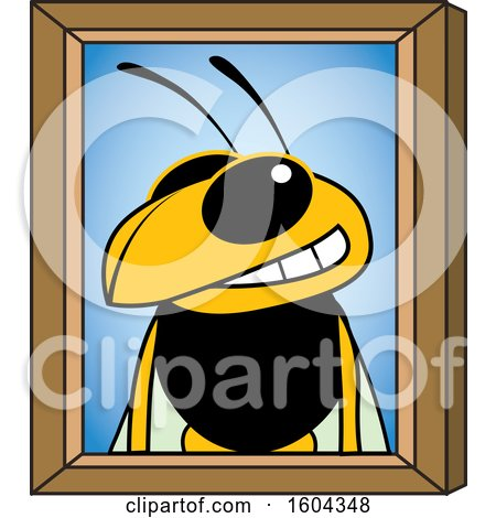 Clipart of a Hornet or Yellow Jacket School Mascot Character Portrait - Royalty Free Vector Illustration by Toons4Biz