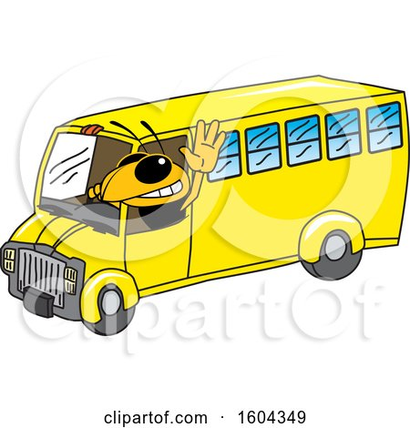 Clipart of a Hornet or Yellow Jacket School Mascot Character Driving a School Bus - Royalty Free Vector Illustration by Toons4Biz