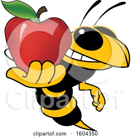 Clipart of a Hornet or Yellow Jacket School Mascot Character Holding an Apple - Royalty Free Vector Illustration by Toons4Biz