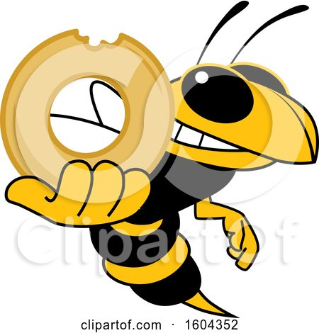 Clipart of a Hornet or Yellow Jacket School Mascot Character Holding a Donut - Royalty Free Vector Illustration by Toons4Biz