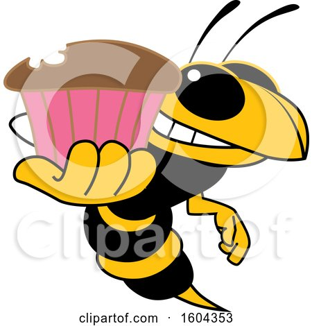 Clipart of a Hornet or Yellow Jacket School Mascot Character Holding a Cupcake - Royalty Free Vector Illustration by Toons4Biz