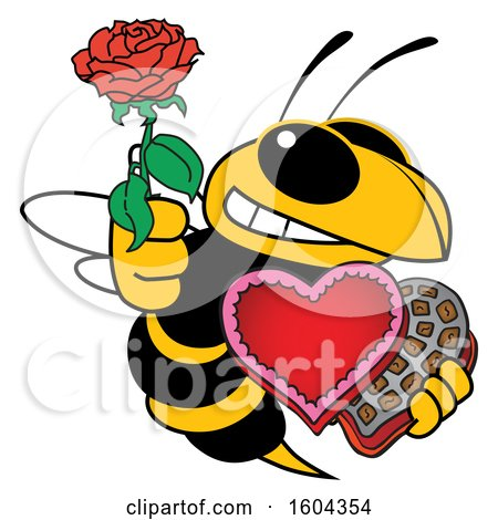 Clipart of a Hornet or Yellow Jacket School Mascot Character Holding a Rose and Valentines Day Candy - Royalty Free Vector Illustration by Toons4Biz