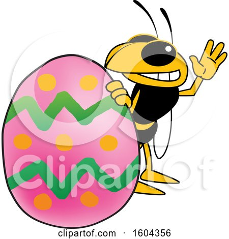 Clipart of a Hornet or Yellow Jacket School Mascot Character with an Easter Egg - Royalty Free Vector Illustration by Toons4Biz