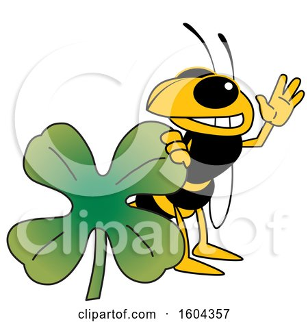 Clipart of a Hornet or Yellow Jacket School Mascot Character with a St Patricks Day Clover - Royalty Free Vector Illustration by Toons4Biz