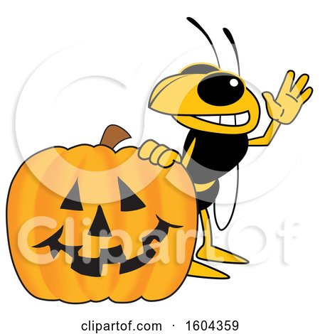 Clipart of a Hornet or Yellow Jacket School Mascot Character with a Halloween Pumpkin - Royalty Free Vector Illustration by Toons4Biz