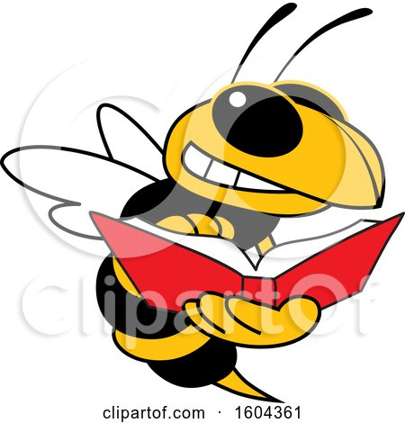 Clipart of a Hornet or Yellow Jacket School Mascot Character Reading a Book - Royalty Free Vector Illustration by Toons4Biz