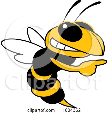 Clipart of a Hornet or Yellow Jacket School Mascot Character Pointing - Royalty Free Vector Illustration by Toons4Biz