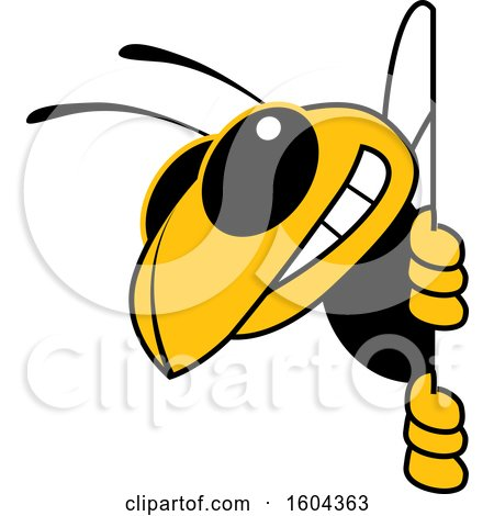 Clipart of a Hornet or Yellow Jacket School Mascot Character Looking Around a Sign - Royalty Free Vector Illustration by Toons4Biz