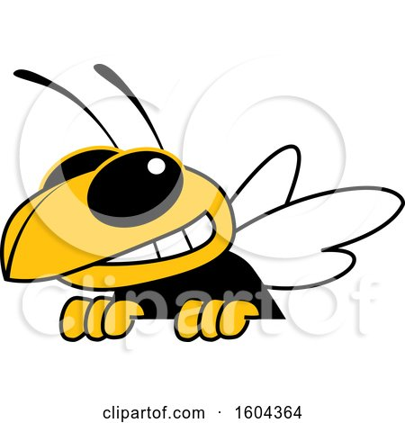 Clipart of a Hornet or Yellow Jacket School Mascot Character over a Sign - Royalty Free Vector Illustration by Toons4Biz