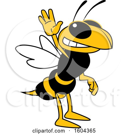 Clipart of a Hornet or Yellow Jacket School Mascot Character Waving - Royalty Free Vector Illustration by Toons4Biz