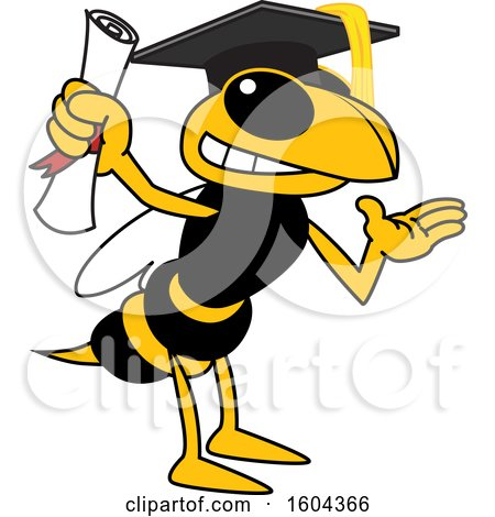 Clipart of a Hornet or Yellow Jacket School Mascot Character Graduate - Royalty Free Vector Illustration by Toons4Biz
