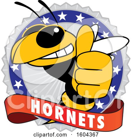 Clipart of a Hornet School Mascot Character Giving a Thumb up on a Badge - Royalty Free Vector Illustration by Toons4Biz