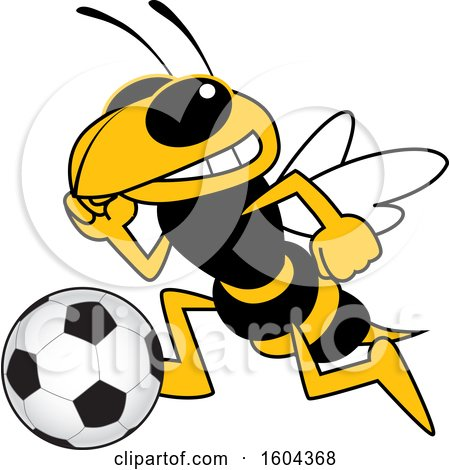 Clipart of a Hornet or Yellow Jacket School Mascot Character Playing Soccer - Royalty Free Vector Illustration by Toons4Biz