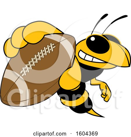 Clipart of a Hornet or Yellow Jacket School Mascot Character Grabbing a Football - Royalty Free Vector Illustration by Toons4Biz