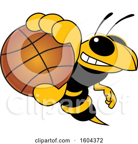 Clipart of a Hornet or Yellow Jacket School Mascot Character Grabbing a Basketball - Royalty Free Vector Illustration by Toons4Biz