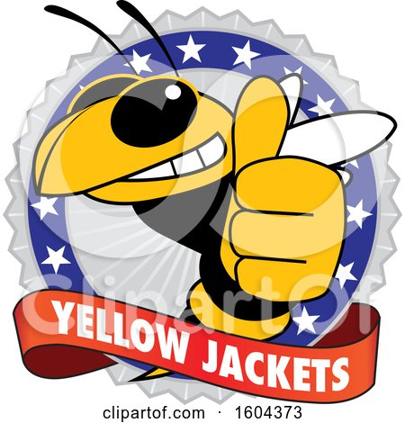 Clipart of a Yellow Jacket School Mascot Character Giving a Thumb up on a Badge - Royalty Free Vector Illustration by Toons4Biz