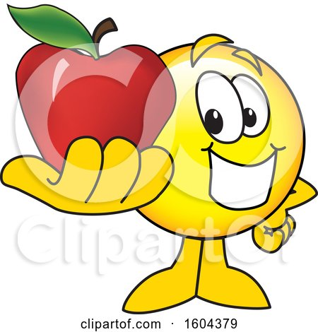 Clipart of a Smiley Emoji School Mascot Character Holding an Apple - Royalty Free Vector Illustration by Toons4Biz