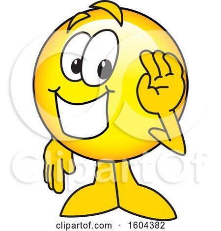 Clipart of a Smiley Emoji School Mascot Character Waving - Royalty Free Vector Illustration by Toons4Biz