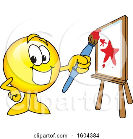 Clipart of a Smiley Emoji School Mascot Character Painting a Canvas - Royalty Free Vector Illustration by Toons4Biz