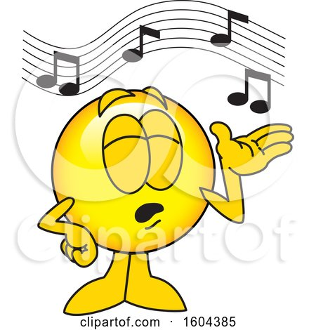 Clipart of a Smiley Emoji School Mascot Character Singing - Royalty Free Vector Illustration by Toons4Biz