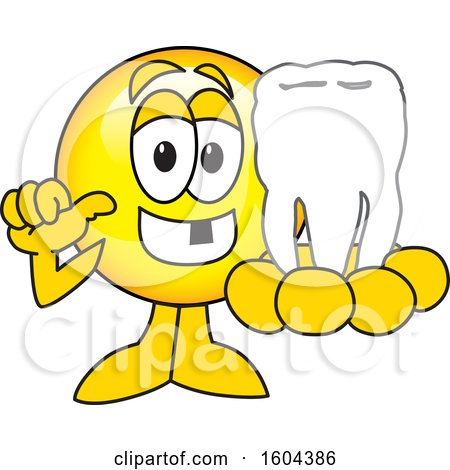 Clipart of a Smiley Emoji School Mascot Character Holding a Tooth - Royalty Free Vector Illustration by Toons4Biz