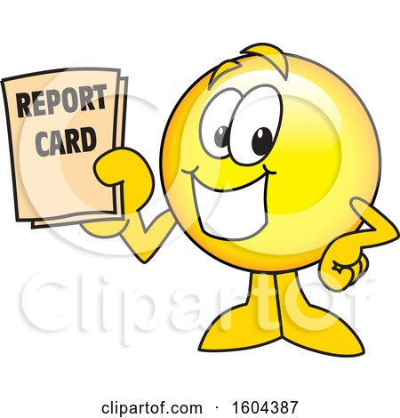 Clipart of a Smiley Emoji School Mascot Character Holding a Report Card - Royalty Free Vector Illustration by Toons4Biz