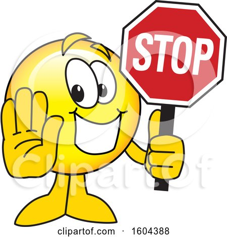 Clipart of a Smiley Emoji School Mascot Character Holding a Stop Sign - Royalty Free Vector Illustration by Toons4Biz