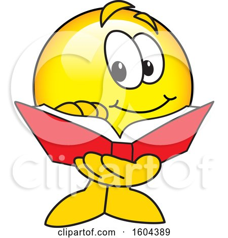 Clipart of a Smiley Emoji School Mascot Character Reading a Book - Royalty Free Vector Illustration by Toons4Biz