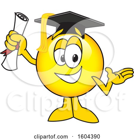Clipart of a Smiley Emoji School Mascot Character Graduate - Royalty Free Vector Illustration by Toons4Biz