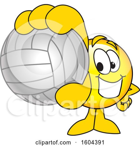 Clipart of a Smiley Emoji School Mascot Character Grabbing a Volleyball - Royalty Free Vector Illustration by Toons4Biz