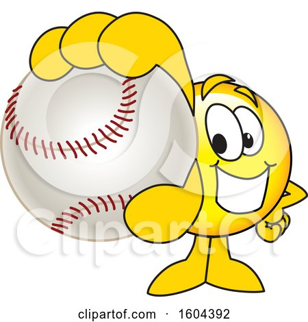 Clipart of a Smiley Emoji School Mascot Character Grabbing a Baseball - Royalty Free Vector Illustration by Toons4Biz