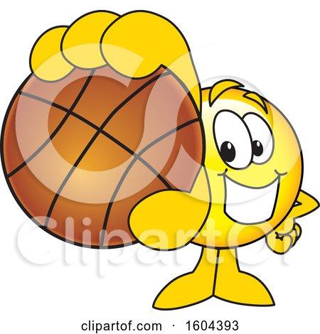Clipart of a Smiley Emoji School Mascot Character Grabbing a Basketball - Royalty Free Vector Illustration by Toons4Biz