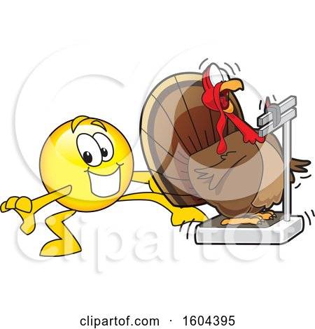 Clipart of a Smiley Emoji School Mascot Character Tricking a Turkey Bird Weighing Itself - Royalty Free Vector Illustration by Toons4Biz