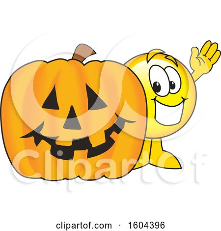 Clipart of a Smiley Emoji School Mascot Character with a Halloween Pumpkin - Royalty Free Vector Illustration by Toons4Biz