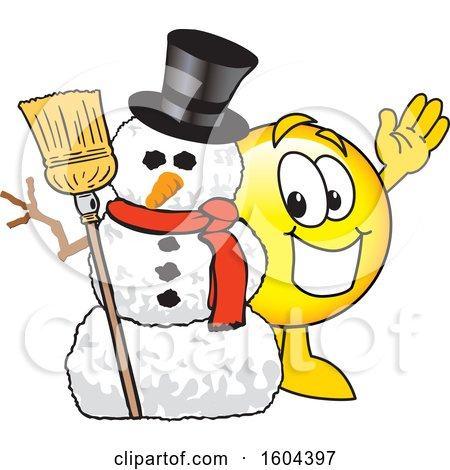 Clipart of a Smiley Emoji School Mascot Character with a Christmas Snowman - Royalty Free Vector Illustration by Toons4Biz