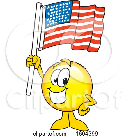Clipart of a Smiley Emoji School Mascot Character Holding an American Flag - Royalty Free Vector Illustration by Toons4Biz