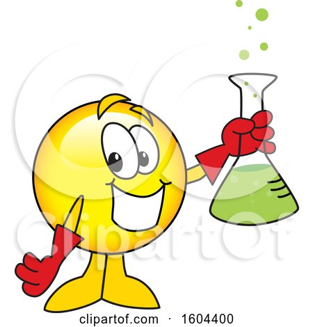 Clipart of a Smiley Emoji School Mascot Character Holding a Science Flask - Royalty Free Vector Illustration by Toons4Biz