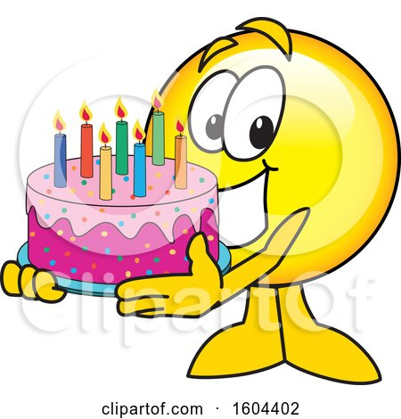 Clipart of a Smiley Emoji School Mascot Character Holding a Birthday Cake - Royalty Free Vector Illustration by Toons4Biz