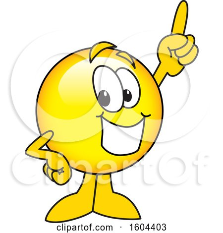 Clipart of a Smiley Emoji School Mascot Character Holding up a Finger - Royalty Free Vector Illustration by Toons4Biz