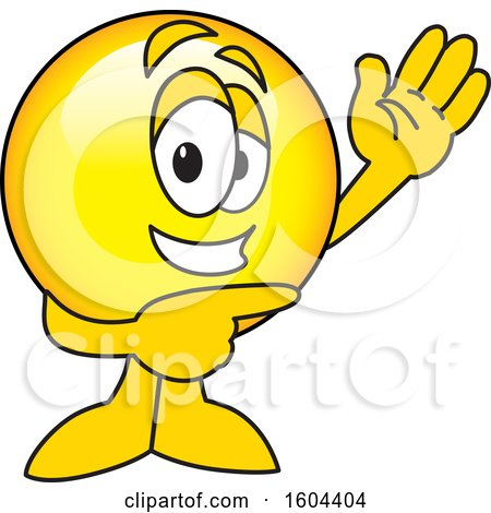 Clipart of a Smiley Emoji School Mascot Character Waving and Pointing - Royalty Free Vector Illustration by Toons4Biz