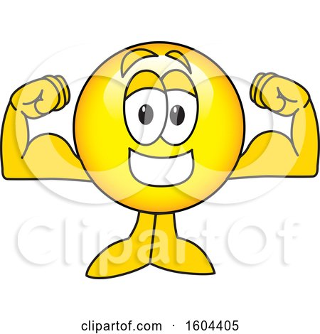 Clipart of a Smiley Emoji School Mascot Character Flexing His Muscles - Royalty Free Vector Illustration by Toons4Biz