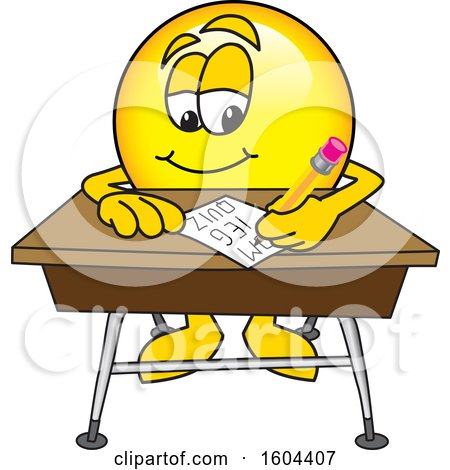 Clipart of a Smiley Emoji School Mascot Character Writing at a Desk - Royalty Free Vector Illustration by Toons4Biz