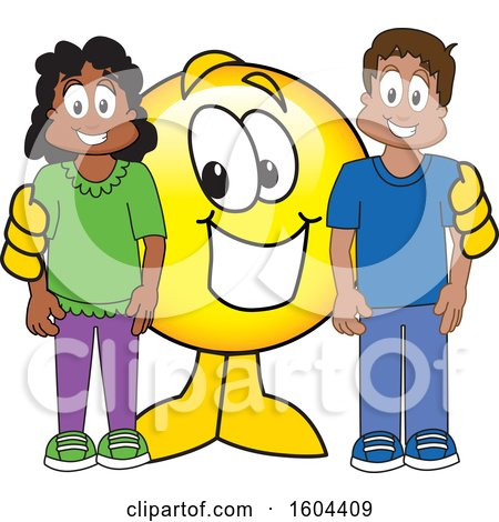 Clipart of a Smiley Emoji School Mascot Character with Students - Royalty Free Vector Illustration by Toons4Biz