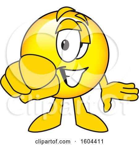 Clipart of a Smiley Emoji School Mascot Character Pointing Outwards - Royalty Free Vector Illustration by Toons4Biz