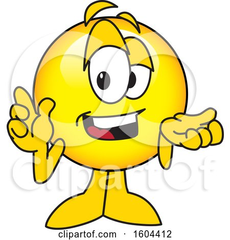 Clipart of a Smiley Emoji School Mascot Character Shrugging - Royalty Free Vector Illustration by Toons4Biz