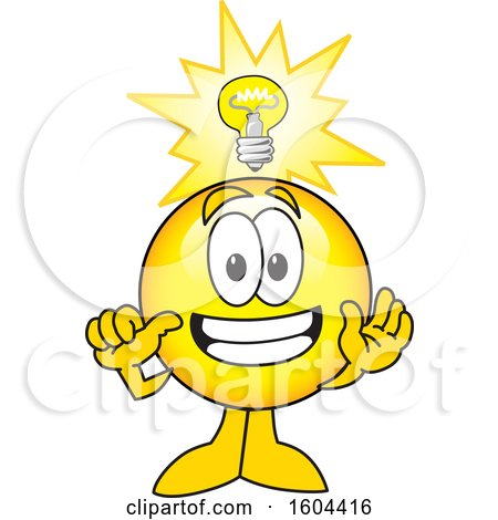 Clipart of a Smiley Emoji School Mascot Character with an Idea - Royalty Free Vector Illustration by Toons4Biz