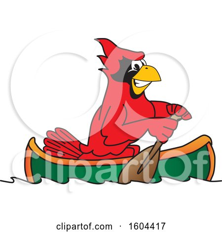Clipart of a Red Cardinal Bird School Mascot Character Rowing a Canoe - Royalty Free Vector Illustration by Toons4Biz
