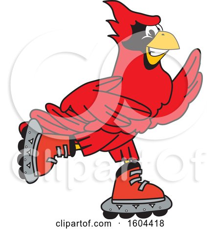 Clipart of a Red Cardinal Bird School Mascot Character Roller Blading - Royalty Free Vector Illustration by Toons4Biz