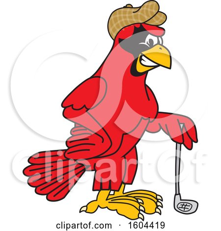 Clipart of a Red Cardinal Bird School Mascot Character Golfer - Royalty Free Vector Illustration by Toons4Biz